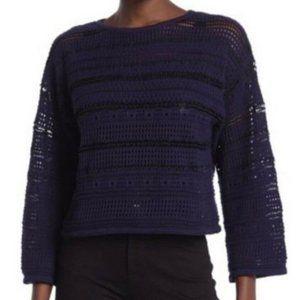 CENY Open Knit Cropped Wide Sleeve Boho Sweater